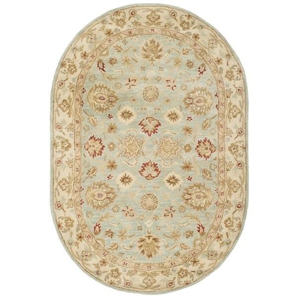 "Safavieh Handmade Antiquity Grey Blue/ Beige Wool Rug - 4'6"" x 6'6"" Oval"