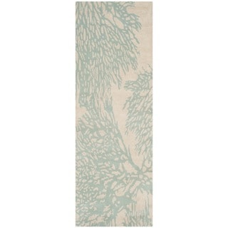 Safavieh Handmade Bella Beige/ Blue Wool Rug (2'3 x 9')