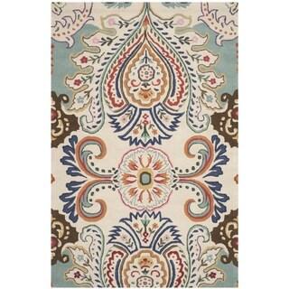Safavieh Handmade Bella Ivory/ Blue Wool Rug (5' x 8')