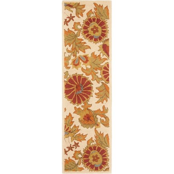 Safavieh Hand-hooked Blossom Ivory Wool Rug (2'3 x 6')