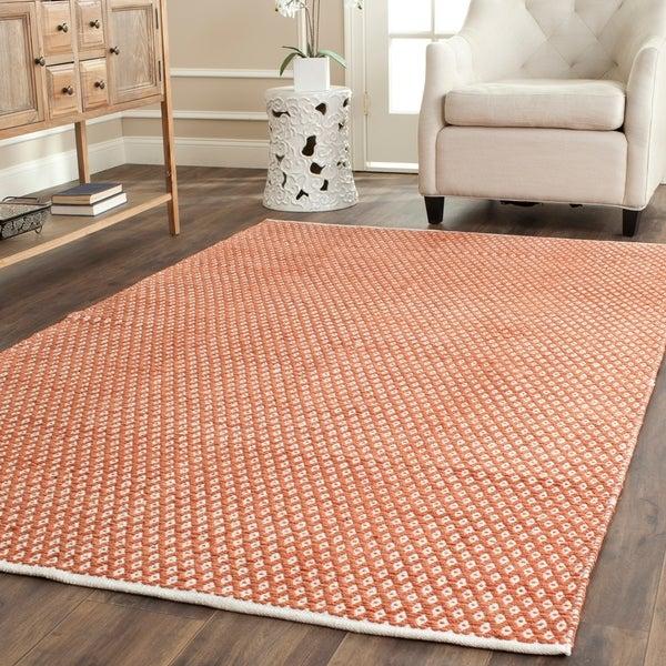 Safavieh Handmade Boston Flatweave Orange Cotton Rug - 6' x 9'