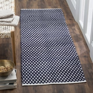 Safavieh Handmade Boston Flatweave Navy Blue Cotton Rug (2'3 x 9')