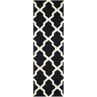 Safavieh Handmade Moroccan Cambridge Black/ Ivory Wool Rug (2'6 x 22')