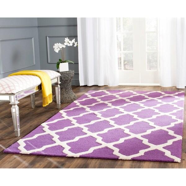 Safavieh Handmade Moroccan Cambridge Purple/ Ivory Wool Rug - 10' X 14'