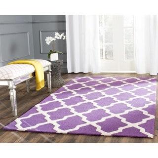 Safavieh Handmade Moroccan Cambridge Purple/ Ivory Wool Rug (11' x 15')