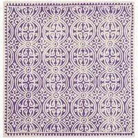 Safavieh Handmade Cambridge Moroccan Purple/ Ivory Rug - 4' Square