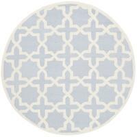 Safavieh Handmade Moroccan Cambridge Light Blue/ Ivory Wool Rug - 8' Round