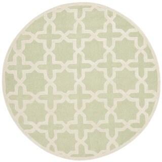 Safavieh Handmade Moroccan Cambridge Light Green/ Ivory Wool Rug (8' Round)