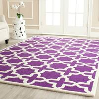 Safavieh Handmade Moroccan Cambridge Geometric Purple/ Ivory Wool Rug - 10' X 14'