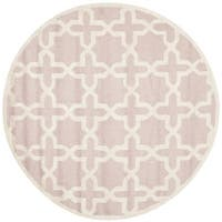 Safavieh Handmade Moroccan Cambridge Light Pink/ Ivory Wool Rug - 4' x 4' Round