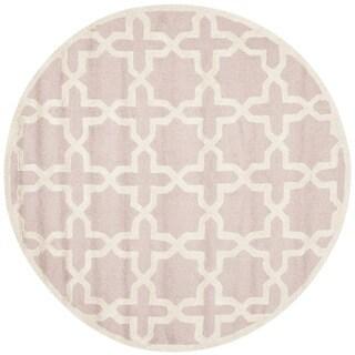 Safavieh Handmade Moroccan Cambridge Light Pink/ Ivory Wool Rug - 4' Round