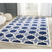 Safavieh Handmade Moroccan Cambridge Geometric Light Blue/ Ivory Wool Rug - 4' Square