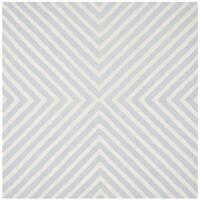 Safavieh Handmade Moroccan Cambridge Light Blue/ Ivory Wool Rug - 4' Square