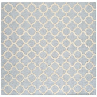 Safavieh Handmade Moroccan Cambridge Light Blue/ Ivory Wool Rug (4' Square)