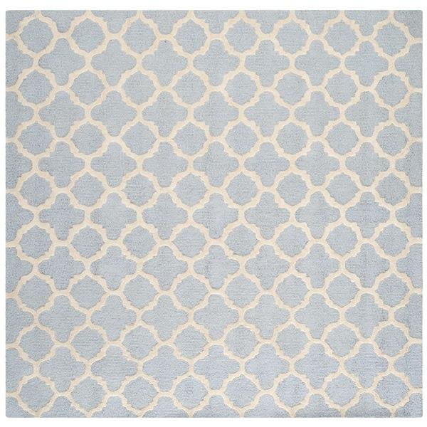 Safavieh Handmade Moroccan Cambridge Light Blue/ Ivory Wool Rug - 4' x 4' Square