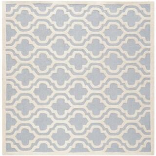 Safavieh Handmade Moroccan Cambridge Light Blue/ Ivory Wool Rug (10' Square)