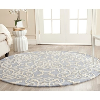 Safavieh Handmade Moroccan Cambridge Light Blue/ Ivory Wool Area Rug (8' Round)