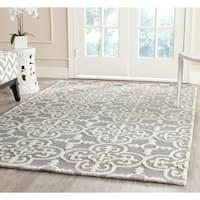 Safavieh Contemporary Handmade Moroccan Cambridge Silver/ Ivory Wool Rug - 10' x 14'