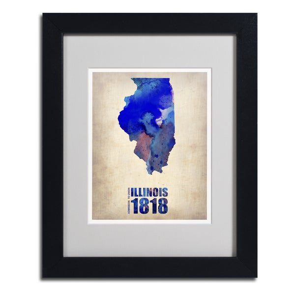 Naxart 'Illinois Watercolor Map' Framed Matted Art