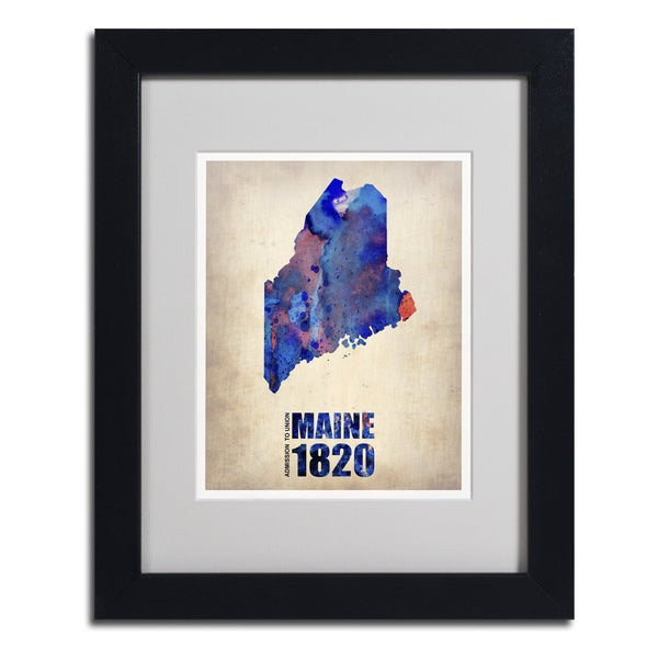 Naxart 'Maine Watercolor Map' Framed Matted Art