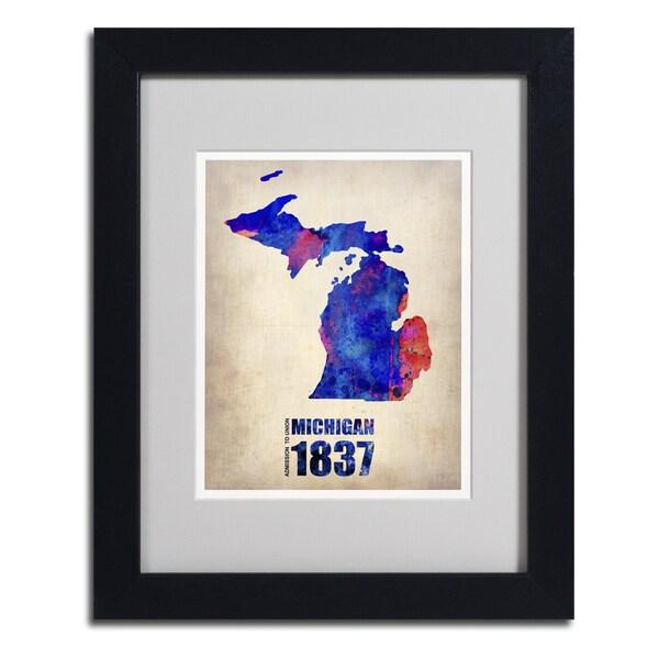 Naxart 'Michigan Watercolor Map' Framed Matted Art