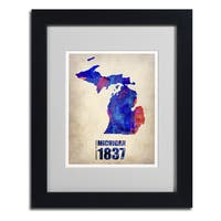Naxart 'Michigan Watercolor Map' Framed Matted Art