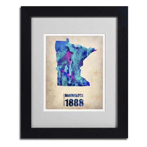 Naxart 'MinnesotaWatercolor Map' Framed Matted Art