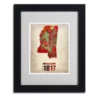Naxart 'Mississippi Watercolor Map' Framed Matted Art