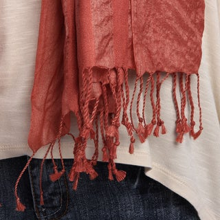 Handmade Natural Silk Herringbone Stripe Scarf