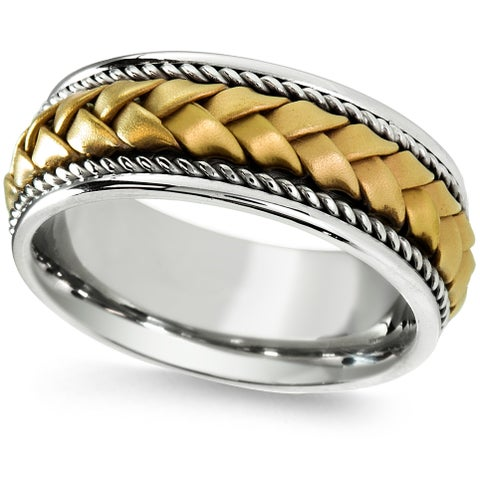 18k Two-tone Gold Men's Woven Handmade Comfort-fit 2-rope Wedding Band
