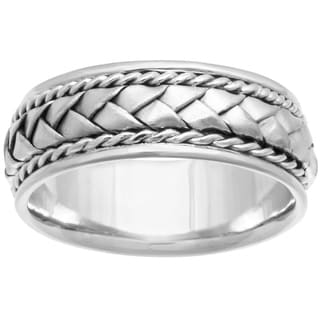 14k White Gold Men's Handmade Comfort-fit Woven Wedding Band