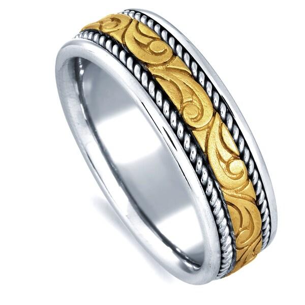 18k Two-tone Gold Men's Handmade Comfort-fit Wedding Band