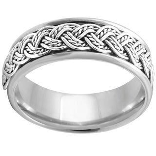 14k White Gold Men S Hand Braided Comfort Fit Wedding Band