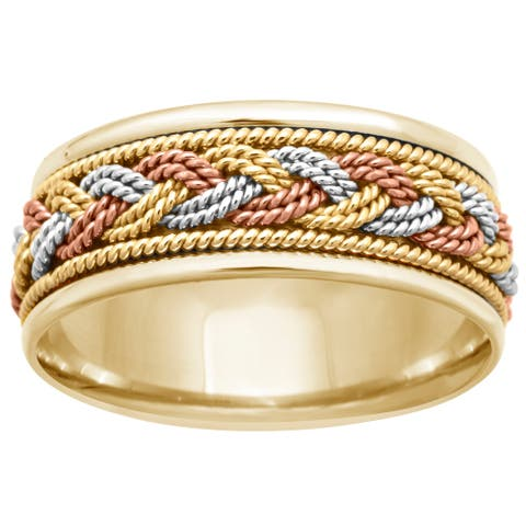 14k Tri-Color Gold Handmade Braided Comfort Fit Men's Wedding Bands