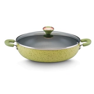 Paula Deen Signature Porcelain Nonstick 12-inch Pear Speckle Covered Chicken Fryer