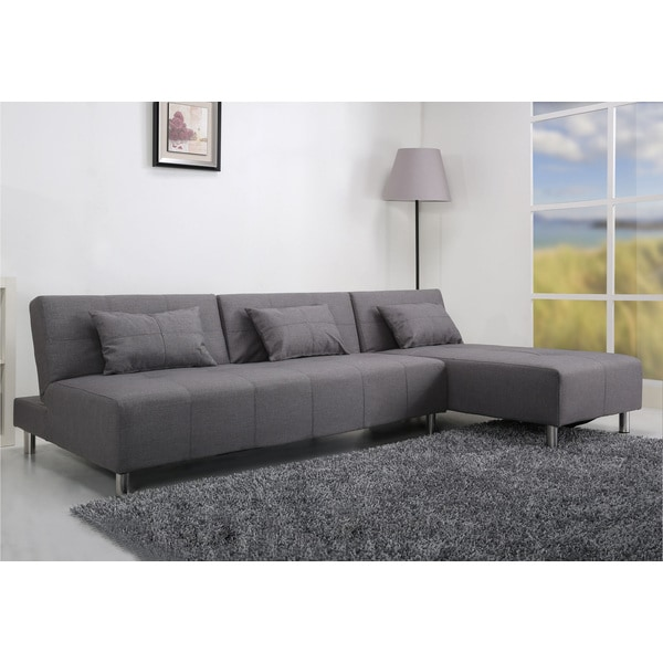 Marvelous Atlanta Light Grey Convertible Sectional Sofa Bed
