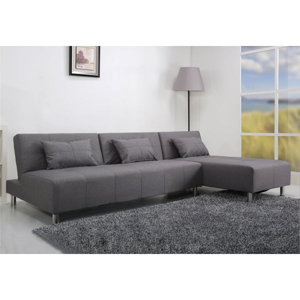 Atlanta Light Grey Convertible Sectional Sofa Bed Free Shipping