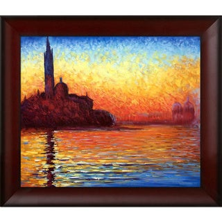 Claude Monet 'San Giorgio Maggiore by Twilight' Hand 31-inch Painted Framed Canvas Art