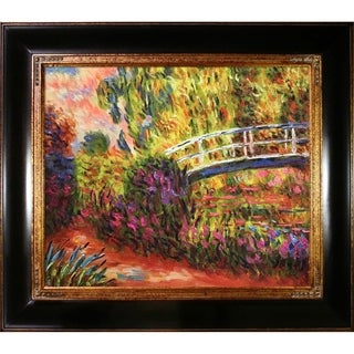 Claude Monet 'The Japanese Bridge' Hand-painted Wood Framed Canvas Art