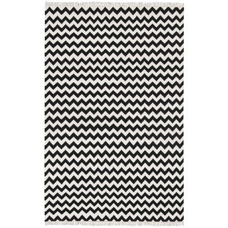 Hand Woven Black Electro Wool Flat Weave Rug (9 x 12)