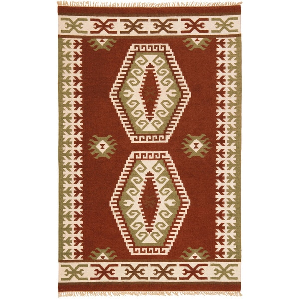 Hand Woven Double Diamond Wool Flat Weave (9 x 12)