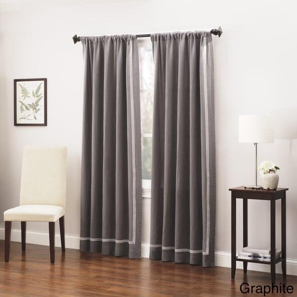 Roxbury Park Baratto Triple Striped Linen Curtain Panel