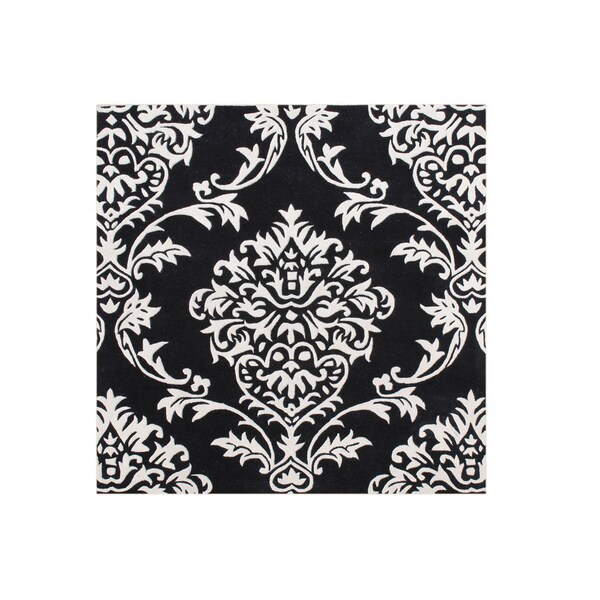 Alliyah Handmade Black New Zealand Blend Wool Rug (6' x 6')