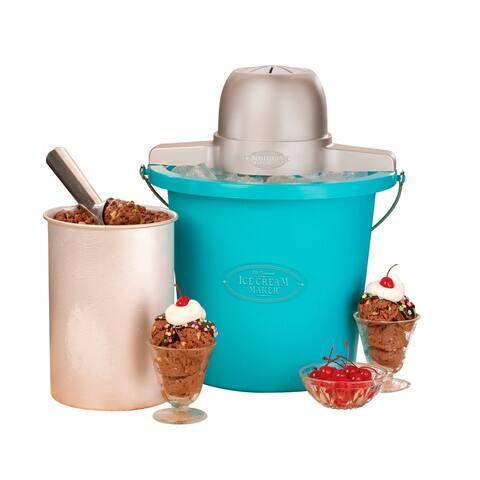 Nostalgia ICMP400BLUE 4-Quart Electric Ice Cream Maker