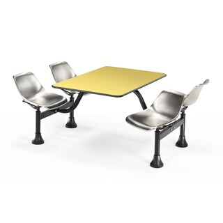 OFM Yellow/ Stainless Steel 4-chair Clutster Table