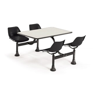 OFM Black 4-chair Attached Cluster Table