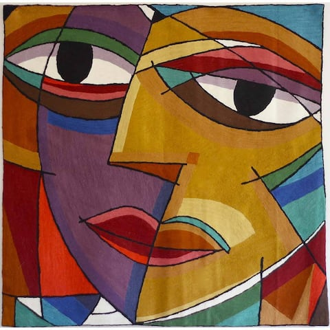 Handmade Abstract Multicolor Face Tapestry (India)