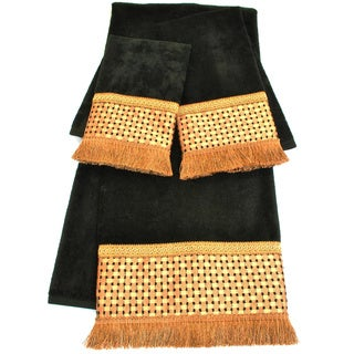 Sherry Kline Chenille Dots Black Embellished 3-piece Towel Set