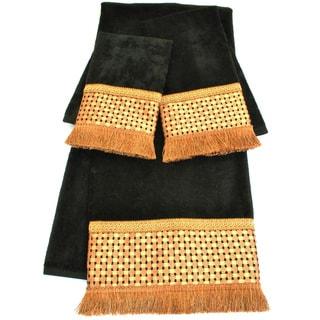 Sherry Kline Chenille Dots Black Embellished 3-piece Towel Set