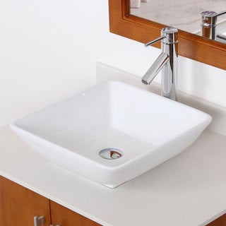 Elite High-temperature Ceramic Square Bathroom Sink / Chrome Faucet Combo